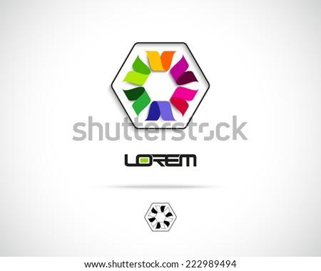 Abstract Vector Logo Design Template. Creative Hexagon Concept Icon - stock vector