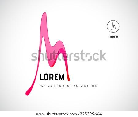 Abstract Vector Logo Design Template. Creative Wavy Concept Icon. Combination of Letter M - stock vector