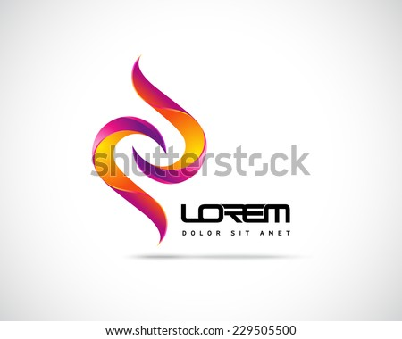 Abstract Vector Logo Design Template. Creative Yellow Red Wavy Concept Icon - stock vector