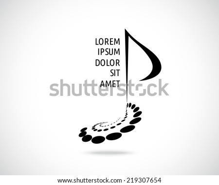Abstract Vector Logo Design Template. Music Note Sign. Musical Symbol. Creative Concept Black Emblem. - stock vector