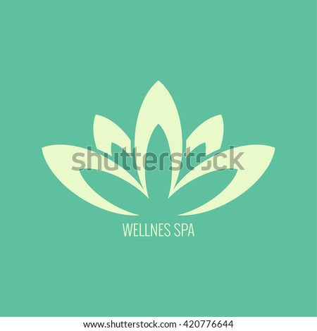Abstract vector logo element. Lotus flower. Icon for beauty, health care, wellness, fashion, cosmetic, perfume, yoga emblem, herbal product, spa, massage salon. delicate color. petals lotus