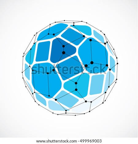 Abstract vector low poly object with black lines and dots connected. Blue 3d futuristic ball with overlapping lines mesh and geometric figures.