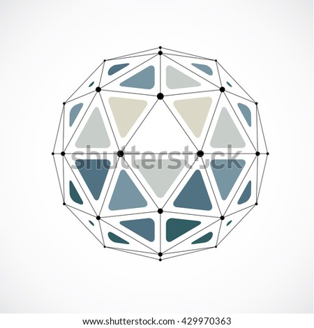 Abstract vector low poly object with black lines and dots connected. Monochrome 3d origami futuristic form with black overlapping lines mesh.