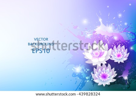 Abstract vector magic background with lotus flowers. - stock vector