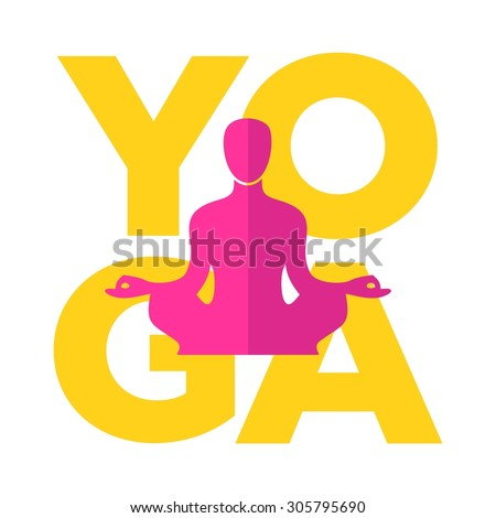 Abstract vector man in yoga lotus position on a white background