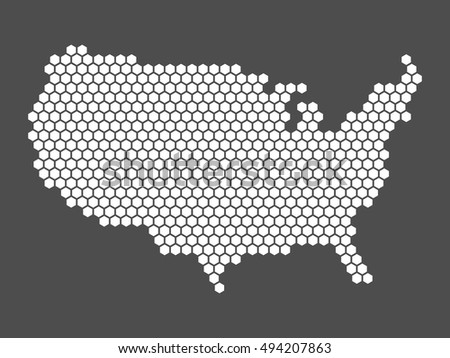 Abstract Vector Map United States America Stock Vector - Simplue us map states