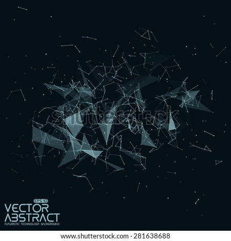 Abstract vector mesh background. Chaotically connected points and polygons flying in space. Futuristic technology style. Elegant background for business presentations. Flying debris. eps10 - stock vector