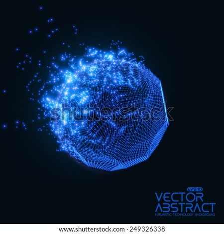 Abstract vector mesh background. Destroying of abstract comet. Futuristic technology style. Elegant background for business presentations. Flying debris. eps10 - stock vector