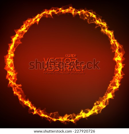 Abstract Vector Mesh Background. Ring Of Fire. Futuristic Technology Style.  Elegant Background For