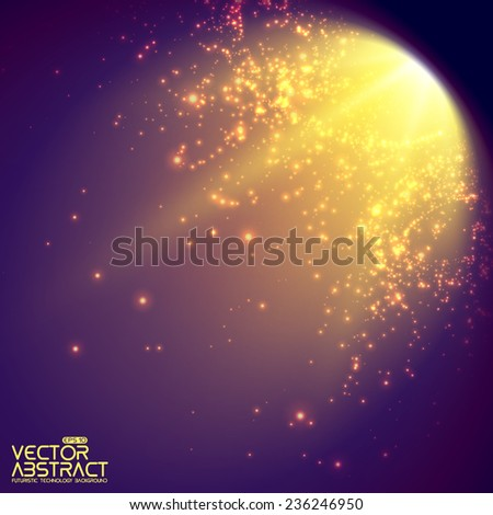 Abstract vector mesh background. Shinig comet with glowing poit tail on the green background. Futuristic style card. Elegant background for business presentations. Eps 10. - stock vector