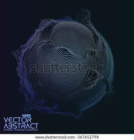 Abstract vector mesh on dark background. Futuristic style card. Elegant background for business presentations.  Corrupted point sphere.  Chaos aesthetics. - stock vector