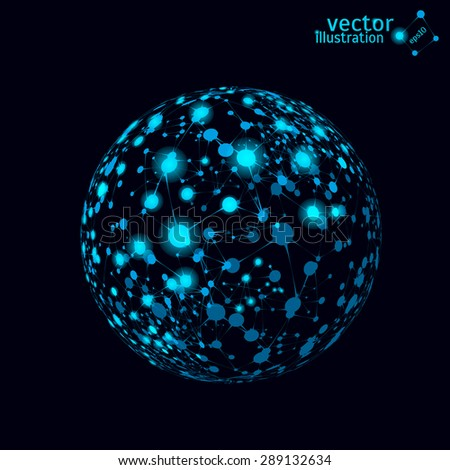 Abstract vector mesh spheres. Futuristic technology style. Elegant background for business presentations.