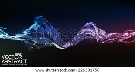 Abstract vector mesh wave background. Futuristic technology style. Elegant background for business presentations. Eps10 - stock vector