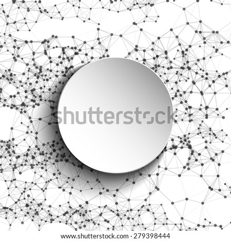 Abstract vector mesh white round. Futuristic technology low poly style. Elegant dots background for presentations. Flying debris lines. Illustration eps10 - stock vector