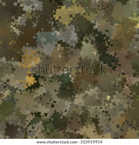 Abstract Vector Military Camouflage Background Made of Geometric Squares Shapes - stock vector