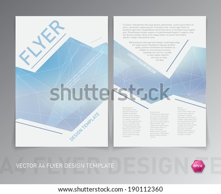 Abstract vector modern flyer / brochure design template. Smooth blue geometric polygonal background. - stock vector