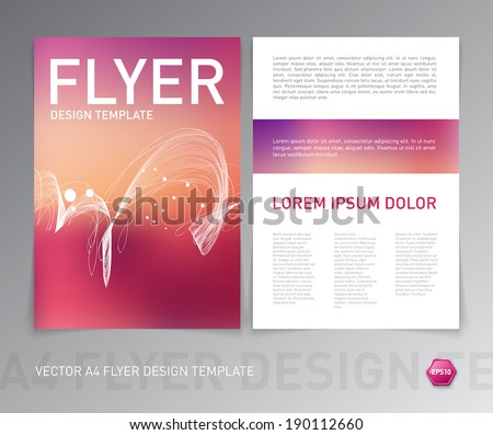 Abstract vector modern flyer / brochure design template. Smooth red blurry background with curly dynamic wave. - stock vector
