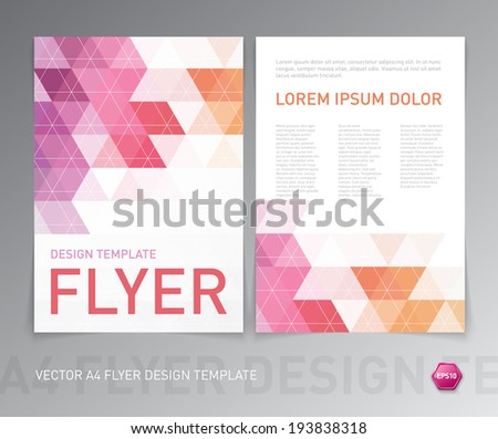 Abstract vector modern flyer / brochure design template with colorful geometric triangular background. Pink purple and orange colors on white - stock vector