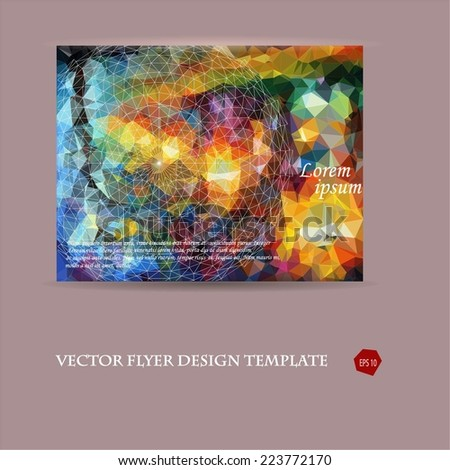 Abstract vector modern flyer / brochure design template with colorful geometric triangular and linear background. Watercolor inspired elements.  - stock vector