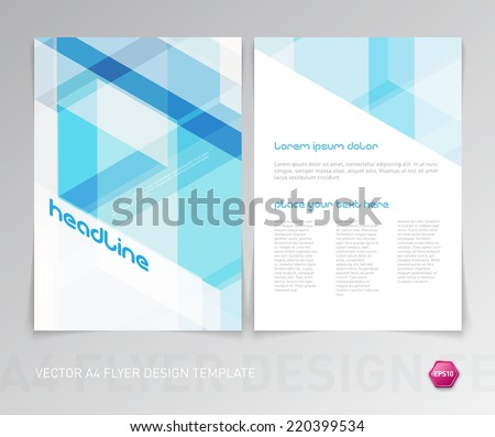 Abstract vector modern flyer / brochure design template with light blue geometric hi-tech background. - stock vector