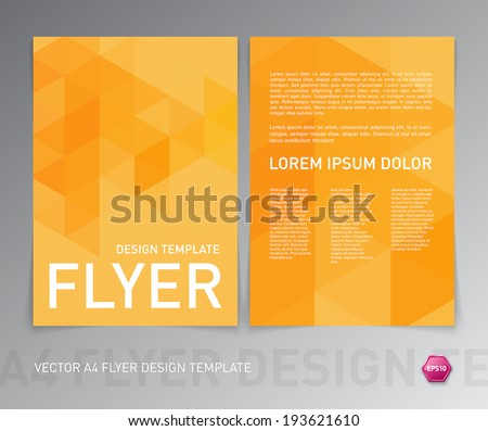 Abstract vector modern flyer / brochure design template with yellow geometric triangular background - stock vector