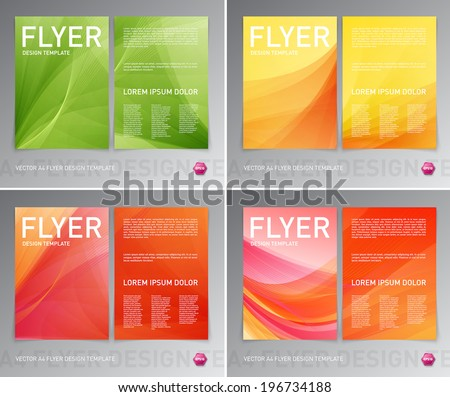 Abstract vector modern flyer / brochure design templates collection. Smooth colorful backgrounds. - stock vector