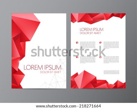 Abstract vector modern flyer / brochure design templates with red geometric triangular background - stock vector