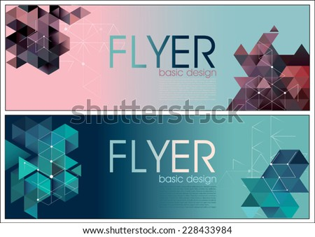 Abstract vector modern flyer design templates with colorful geometric triangular backgrounds - stock vector