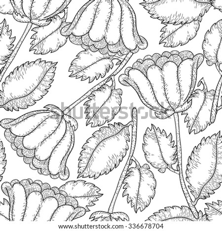 Abstract vector monochrome flower seamless pattern. Cute black and white background. Vector sweet illustration.