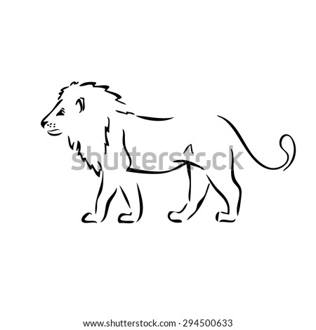 Abstract vector monochrome silhouette walking lion. silhouette walking lion with black stroke over white background