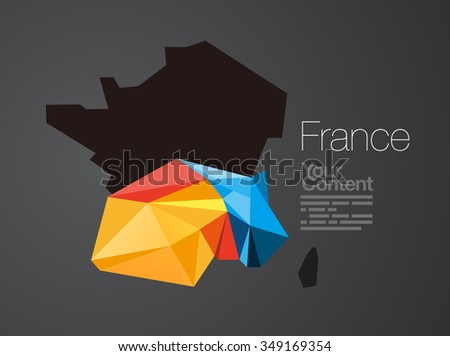 Abstract Vector Nation Map Background - France - stock vector