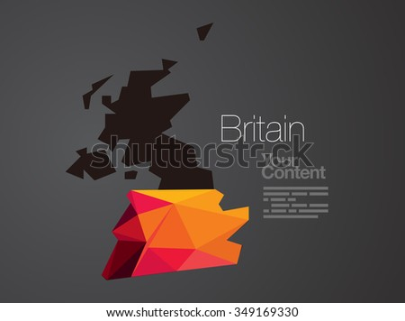 Abstract Vector Nation Map Background - U. K. - stock vector