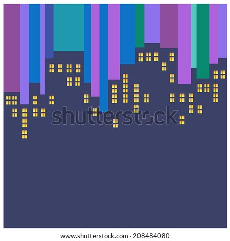 Abstract vector night city with dark outlines of buildings and windows yellow striped purple, blue and green background  - stock vector