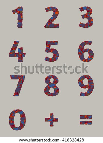 Abstract vector numbers in flat style for material creative projects. Decorative arabic numerals, equal sign, plus sign with the pattern of colored stone masonry. Design template. Vector illustration - stock vector