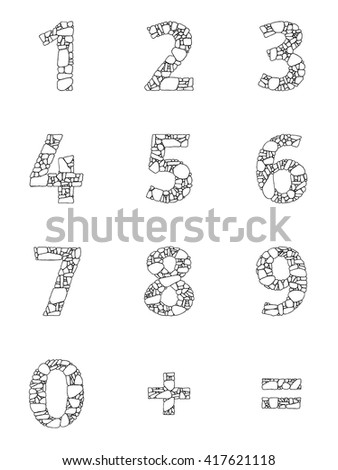 Abstract vector numbers in flat style for material design creative projects. Decorative arabic numerals, equal sign, plus sign with the pattern of stone masonry.  - stock vector