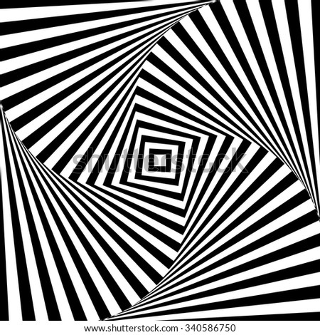 Abstract vector optic illusion in black and white