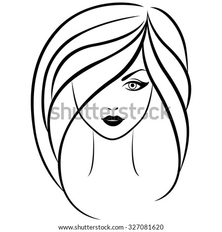 Abstract vector outline portrait of young beautiful girl with long hair