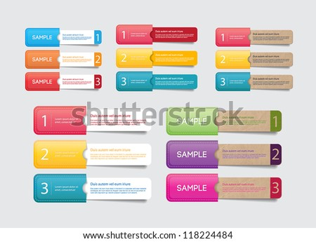 Abstract vector paper tags with colorful pockets - one two three steps - stock vector