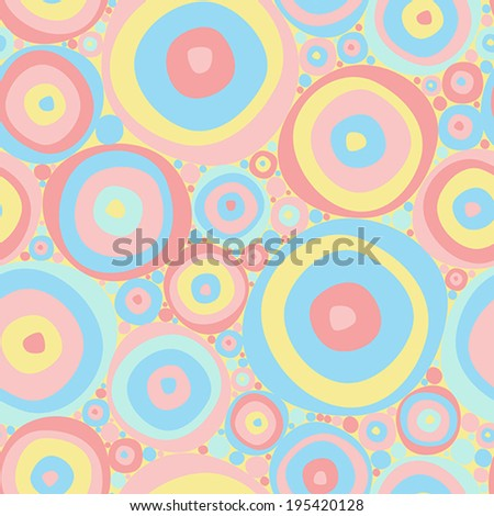 Abstract vector pattern with circles in pastel colors