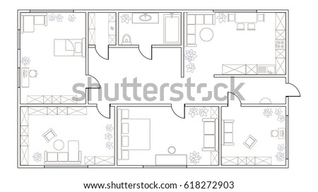 Abstract Vector Plan Of Two Bedroom Apartment, With Kitchen, Bathroom,  Childrenu0027s Room