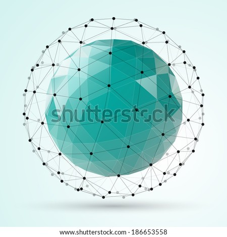 abstract vector polygonal sphere - stock vector