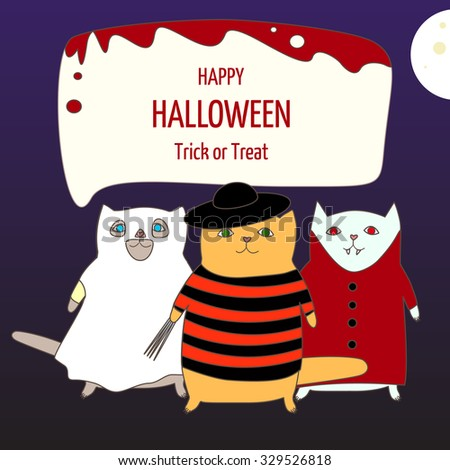 """Abstract vector poster """"Happy Halloween"""" with cute cats - poster or postcard for cat cafe - stock vector"""