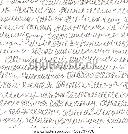 abstract vector pseudo hand writing seamless background pattern - stock vector