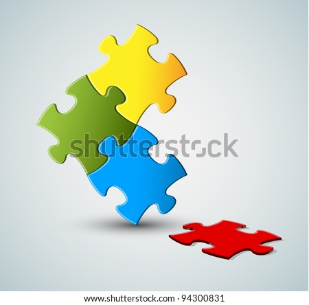 Abstract vector puzzle / solution background with one missing piece - stock vector