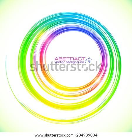 Abstract vector rainbow colors circle frame - stock vector