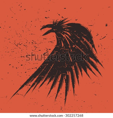 Abstract vector raven illustration. Orange background with grunge texture. t-shirt template. - stock vector