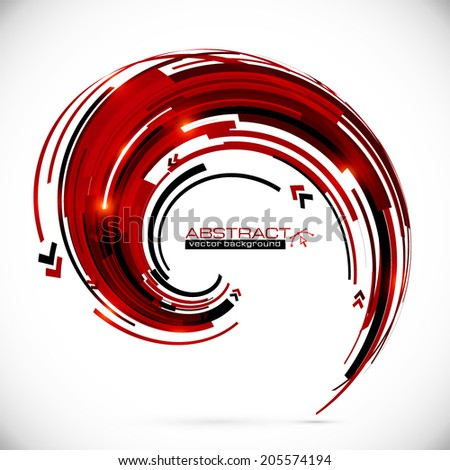 Abstract vector red and black techno arrows frame - stock vector