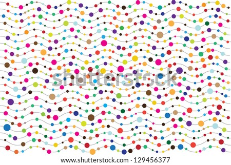 abstract vector retro background with colorful bubbles on black waves isolated on white
