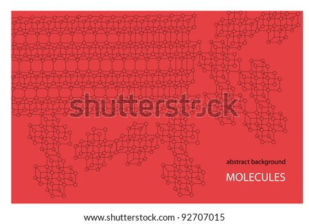 abstract vector scientific background with molecule structure and place for your text isolated on red background - stock vector