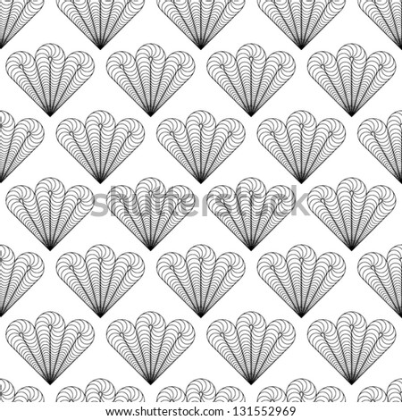 Abstract Vector Seamless Black And White Bush Like Pattern